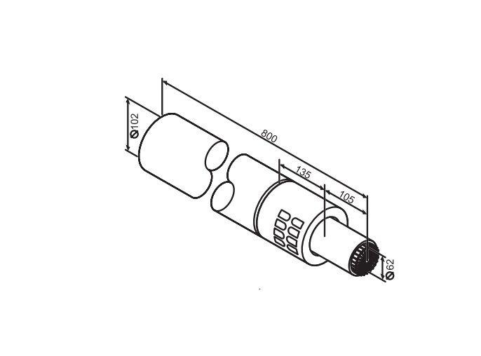 Buderus (конд.) Коаксильный горизонтальный комплект: удлинение 800 мм, Ф 60/100 (7747210024)
