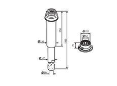 Buderus (конд.) Коаксильный вертикальный комплект: адаптер подключения к котлу + удлинение 1169 мм, Ф 60/100 (7747210029)