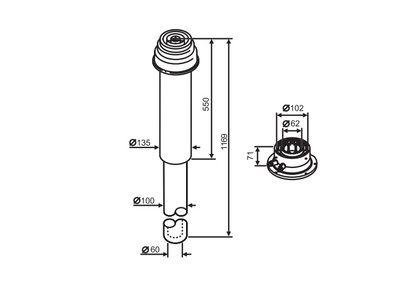 Buderus (конд.) Коаксильный вертикальный комплект: адаптер подключения к котлу + удлинение 1169 мм, Ф 60/100 (7747210029) цена