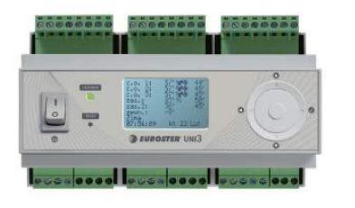 Euroster UNI 3 Погодозависимый термоконтроллер Управляет 3-мя независимыми контурами отопления со смес. клапанами, основным и дополнительным источником тепла с системой Антистоп, 6 выносных датчиков. цена