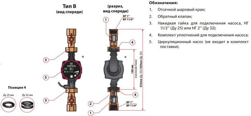 Монтажный комплект Meibes Тип B 1 1/4'' без насоса (61825)