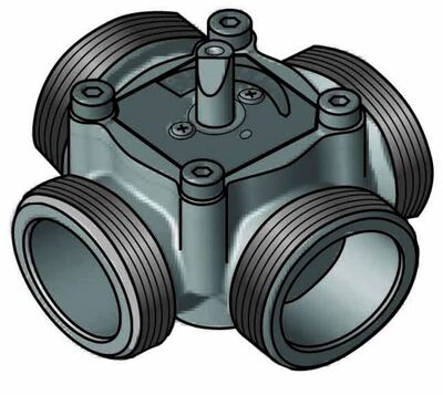 """4-ходовой смесительный клапан Meibes Elomix ЕМ4-25Е-4 Ду25 (Kvs 4 м.куб./час), подключение 1 """"НР цены"""