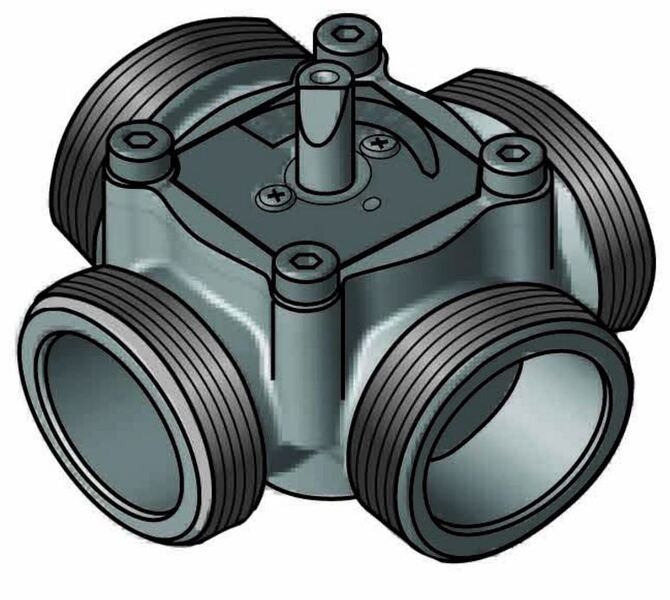 """4-ходовой смесительный клапан Meibes Elomix ЕМ4-32Е-8 Ду32 (Kvs 8 м.куб./час), подключение 1 1/4 """"НР"""
