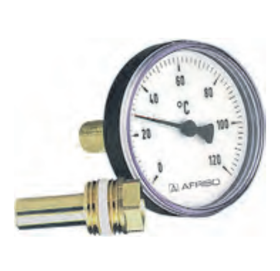 "Термометр Bith K, корпус 80 мм, шток 100 мм, T 0…120°C, соед. 1/2"" акс., к.т. 2,0"
