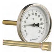 "Термометр Bith, корпус 80 мм, шток 100 мм, T -20…60°C, соед. 1/2"" акс., к.т. 2,0"
