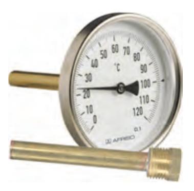 "Термометр Bith, корпус 63 мм, шток 68 мм, T 0…120°C, соед. 1/2"" акс., к.т. 2,0"