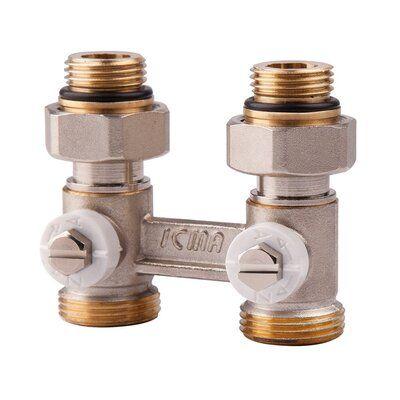 ICMA двухтрубный сдвоенный вентиль 912 1/2`х3/4` прямой (отвертка) цена