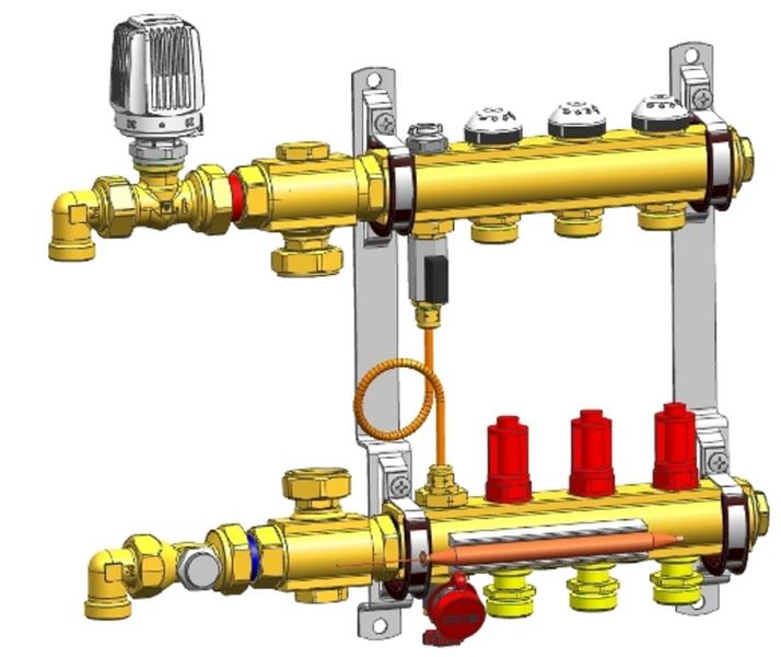 Коллектор Herz телпого пола с модулем управления Compactfloor Light (без насоса) 3-ходов.