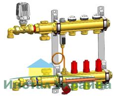 Коллектор Herz телпого пола с модулем управления Compactfloor Light (без насоса) 11-ходов.