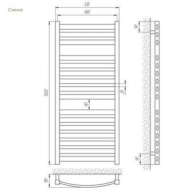 Полотенцесушитель Laris Атлант П16 500х1200 mm цены