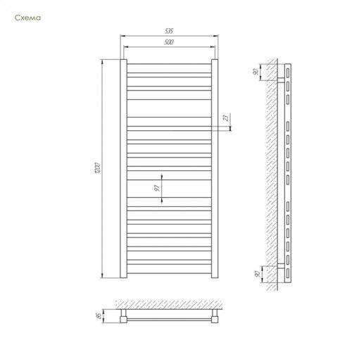 Полотенцесушитель Laris Солар П23 500х1200 mm