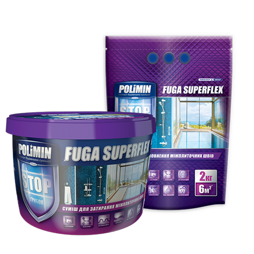 Polimin Fuga Superflex антигрибковая эластичная затирка для межплиточных швов (цвет светло-серый)