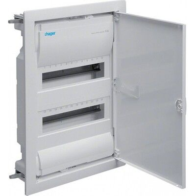 HAGER Щит встроеный VOLTA 2 ряда 24+4 модулей стальные двери, без клемм IP30 (VU24UA) цена