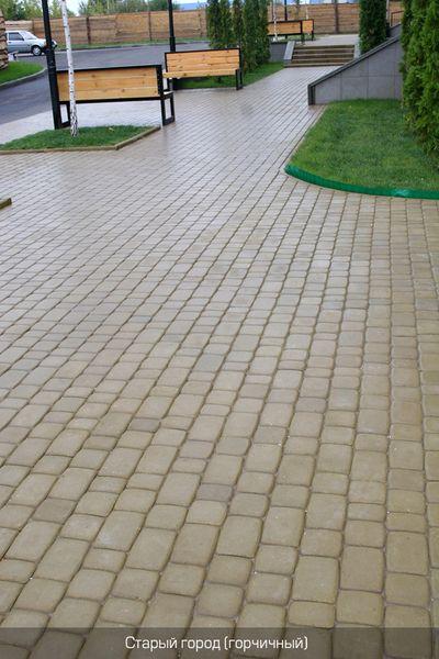 Тротуарная плитка Старый город (горчичный) (6 см)