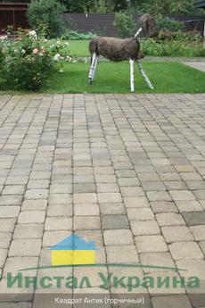 Тротуарная плитка Квадрат Антик 160х160 (горчичный неполный прокрас) (9 см)