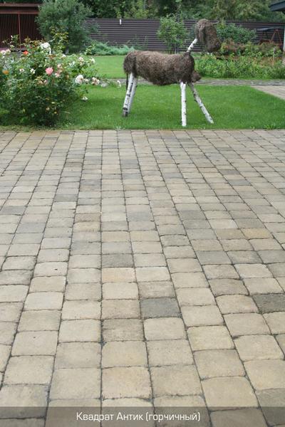 Тротуарная плитка Квадрат Антик 160х160 (горчичный полный прокрас) (9 см)