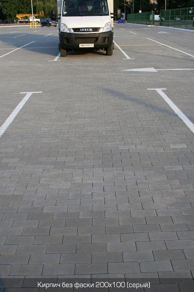 Тротуарная плитка Кирпич Стандартный без фаски (серый) 200х100 (6 см)