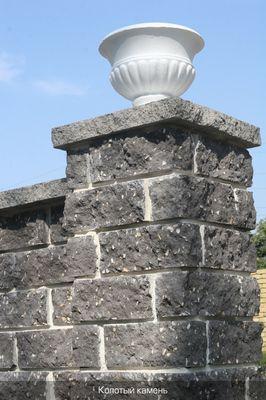 Камень декоративный для забора М-200 350х180х150 (серый) цена