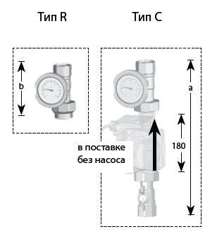 Монтажный комплект Meibes Тип С+R 1'' без насоса (61127)