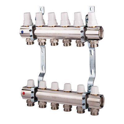 ICMA Коллектор для отопления с регулировочными и запорными вентелями 1''x5 (87K005PQ06) цена