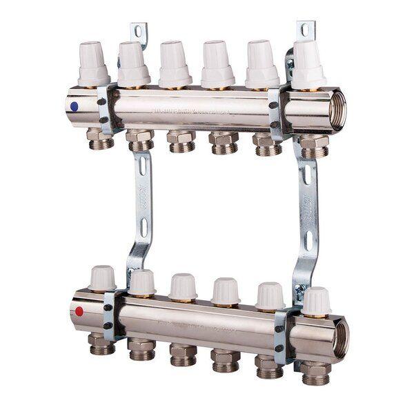 ICMA Коллектор для отопления с регулировочными и запорными вентелями 1''x5 (87K005PQ06)