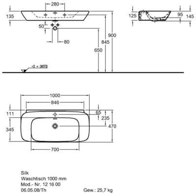 Умывальник Keramag Silk 1000 x 470 мм с отверстием под смеситель и переливом цены