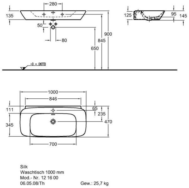 Умывальник Keramag Silk 1000 x 470 мм с отверстием под смеситель и переливом