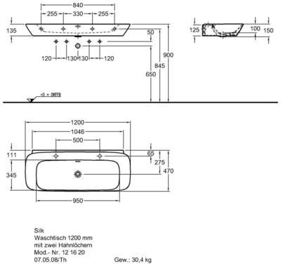 Умывальник Keramag Silk 1200 x 470 мм двумя отверстиями под смеситель справа и слева и переливом цены