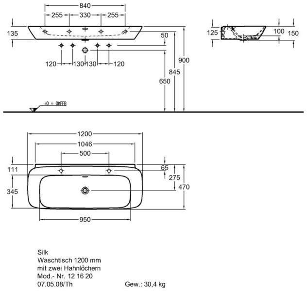 Умывальник Keramag Silk 1200 x 470 мм двумя отверстиями под смеситель справа и слева и переливом