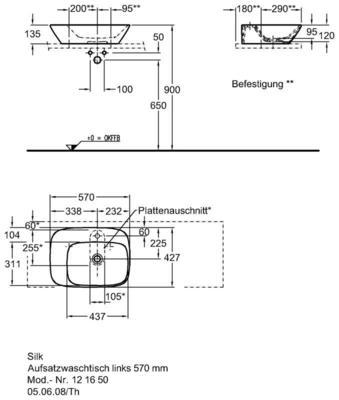 Умывальник Keramag Silk с полочкой слева 570x 427 мм с отверстием под смеситель без отверстия перелива цена