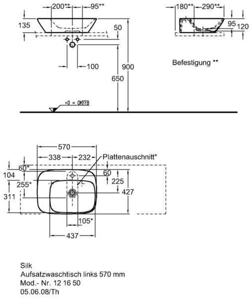 Умывальник Keramag Silk с полочкой слева 570x 427 мм с отверстием под смеситель без отверстия перелива