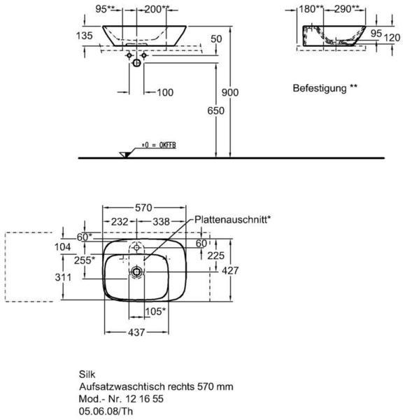 Умывальник Keramag Silk с полочкой справа 570x 427 мм с отверстием под смеситель без отверстия перелива