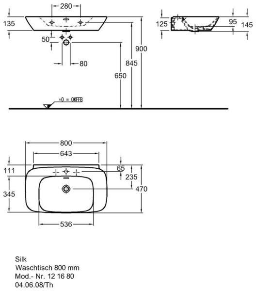 Умывальник Keramag Silk 800 x 470 мм с отверстием под смеситель и переливом