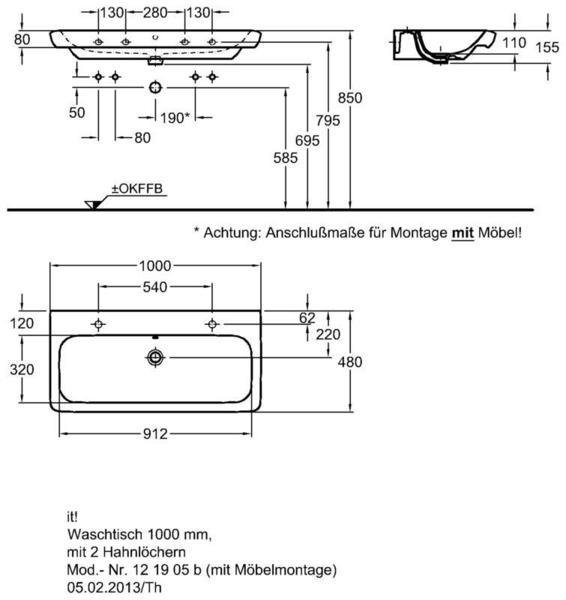 Умывальник Keramag it 1000 x 480 мм с двумя отверстиями под смеситель с переливом