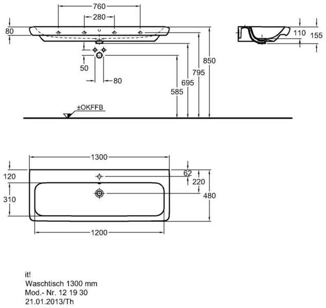 Умывальник Keramag it 1300 x 480 мм с отверстием под смеситель с переливом