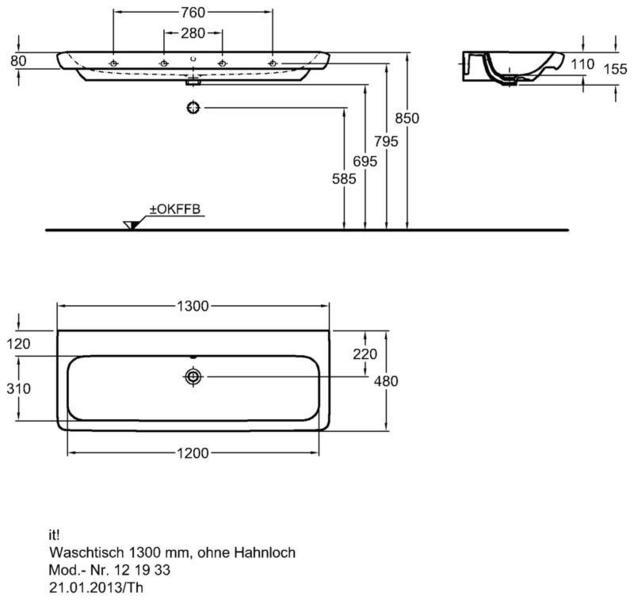 Умывальник Keramag it 1300 x 480 мм без отверстия под смеситель с переливом