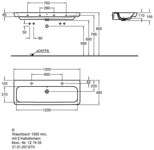 Умывальник Keramag it 1300 x 480 мм с двумя отверстиями под смеситель с переливом