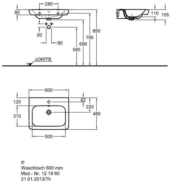 Умывальник Keramag it 600 x 480 мм с отверстием под смеситель с переливом
