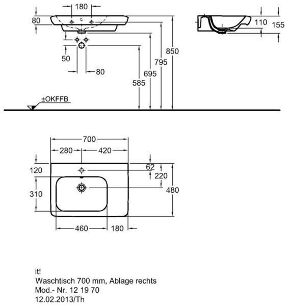Умывальник Keramag it с полочкой справа 700 x 480 мм с отверстием под смеситель с переливом