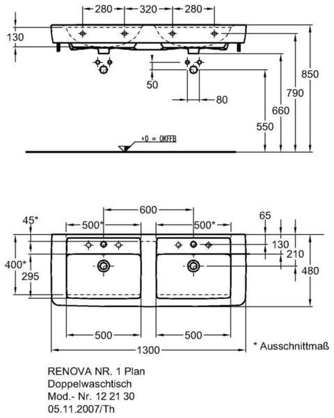 Умывальник Keramag Renova Nr. 1 Plan двойной 1300 x 480 мм 2 отверстия под смеситель слева и справа с переливом