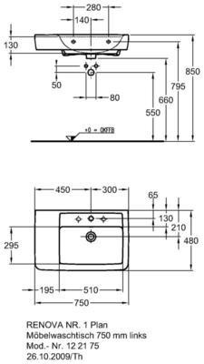Умывальник Keramag Renova Nr. 1 Plan с полочкой слева 750 x 480 мм с отверстием под смеситель с переливом цена