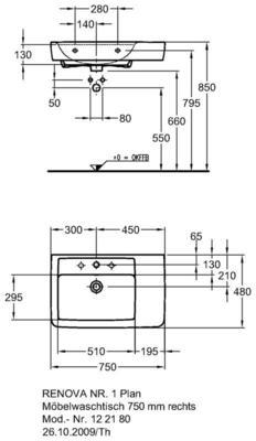 Умывальник Keramag Renova Nr. 1 Plan с полочкой справа 750 x 480 мм с отверстием под смеситель с переливом цена