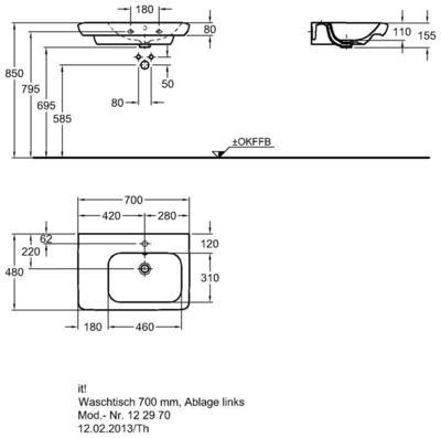 Умывальник Keramag it с полочкой слева 700 x 480 мм с отверстием под смеситель с переливом цена