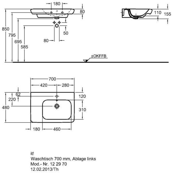 Умывальник Keramag it с полочкой слева 700 x 480 мм с отверстием под смеситель с переливом