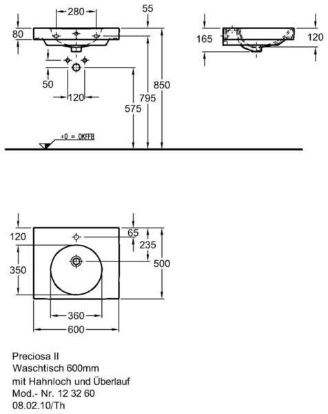 Умывальник Keramag Preciosa II 600 x 500 мм с отверстием для смесителя с переливом