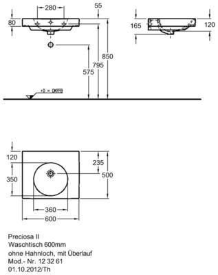 Умывальник Keramag Preciosa II 600 x 500 мм без отверстия для смесителя без перелива цена