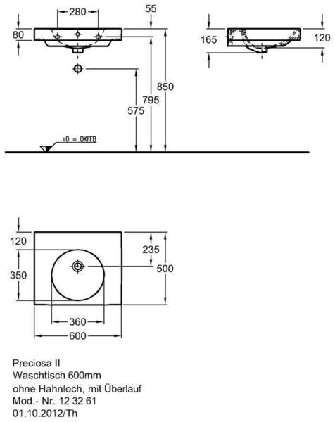 Умывальник Keramag Preciosa II 600 x 500 мм без отверстия для смесителя без перелива