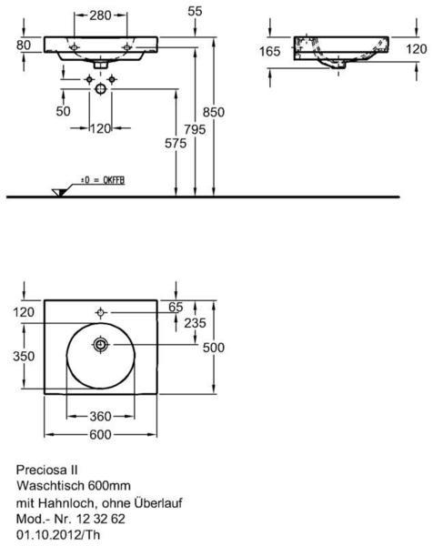 Умывальник Keramag Preciosa II 600 x 500 мм с отверстием для смесителя без перелива