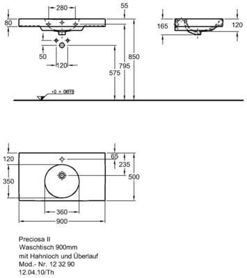 Умывальник Keramag Preciosa II 900 x 500 мм с отверстием для смесителя с переливом цены