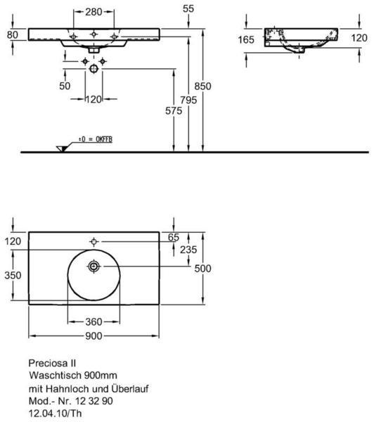 Умывальник Keramag Preciosa II 900 x 500 мм с отверстием для смесителя с переливом